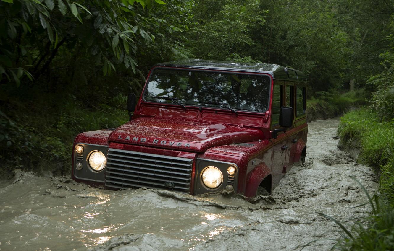 Photo wallpaper water, Land Rover, Defender, 2013, Defender 110