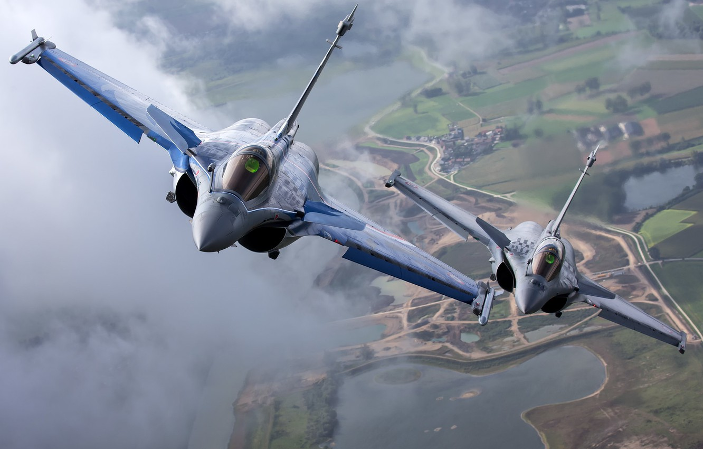 Photo wallpaper pair, flight, multi-role fighter, Dassault Rafale