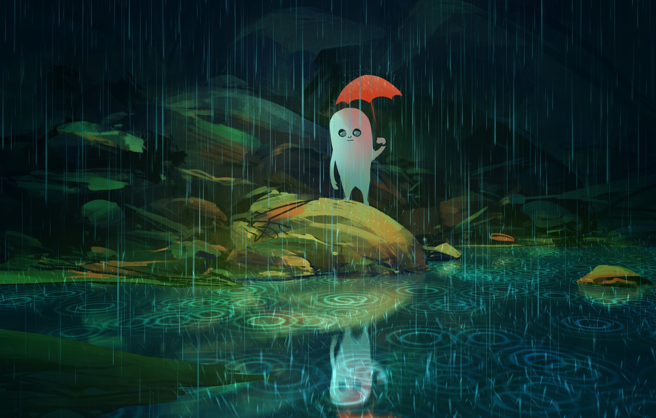 Photo wallpaper something, spirit, being, alien, the shower, art, the reflection in the water, red umbrella, in …
