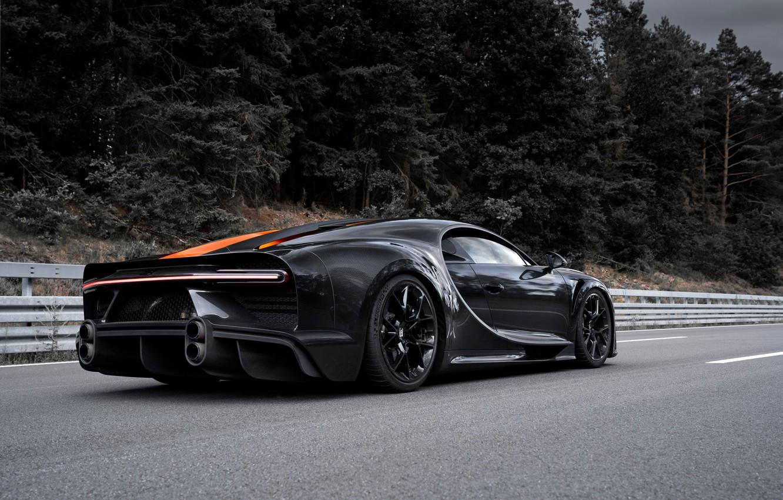 Photo wallpaper asphalt, trees, Bugatti, hypercar, Chiron, Super Sport 300+