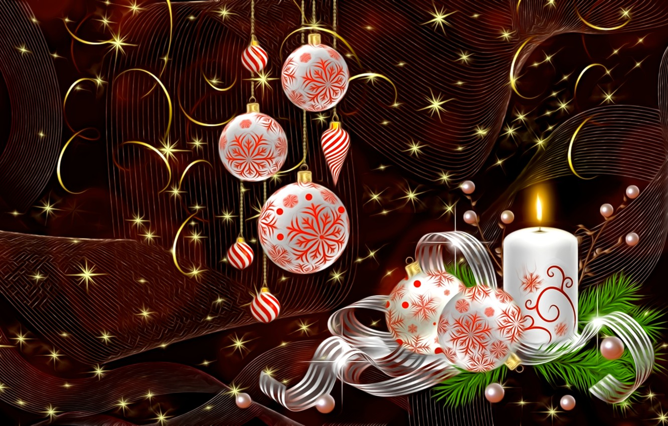 Photo wallpaper light, the dark background, rendering, holiday, curls, candle, New Year, Christmas, tape, picture, Christmas decorations, …