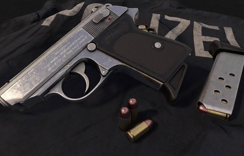 Photo wallpaper gun, weapons, gun, Render, weapon, Walther, Walter, PPK, Walther PPK, Rendering