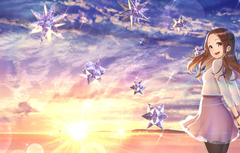 Photo wallpaper sunset, stars, girl