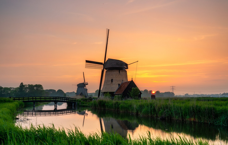 Photo wallpaper grass, twilight, river, sky, trees, bridge, sunset, water, landscapes, sun, fog, dusk, reflection, mill, mist, …