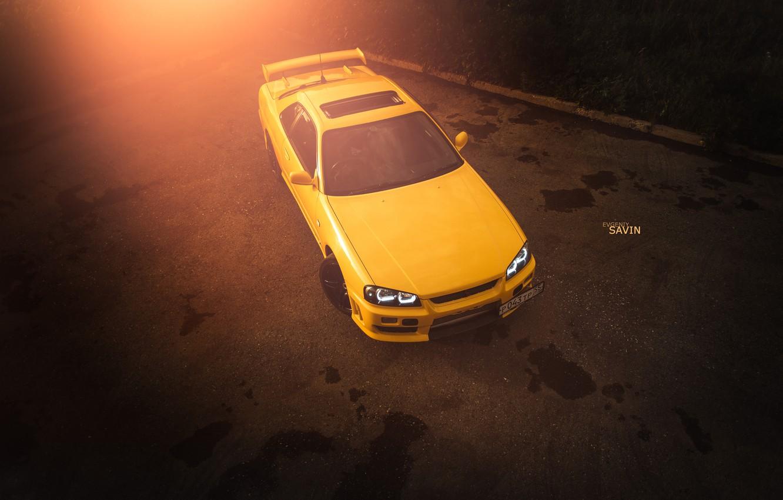Photo wallpaper car, auto, summer, asphalt, yellow, nissan, turbo, summer, Blik, skyline, Nissan, speed, low, R34, worn9, …