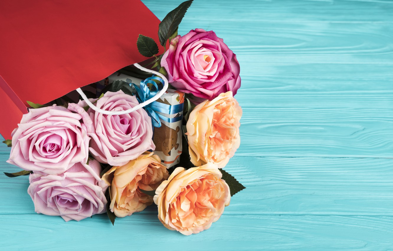 Photo wallpaper flowers, bouquet, packaging, Ana Lukenda