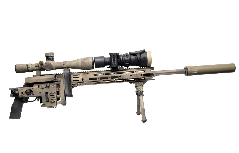 Photo wallpaper optics, muffler, sniper rifle