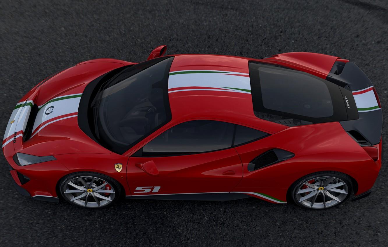 Photo wallpaper top, Ferrari, side, 2019, 488 The Track The Ferrari Drivers