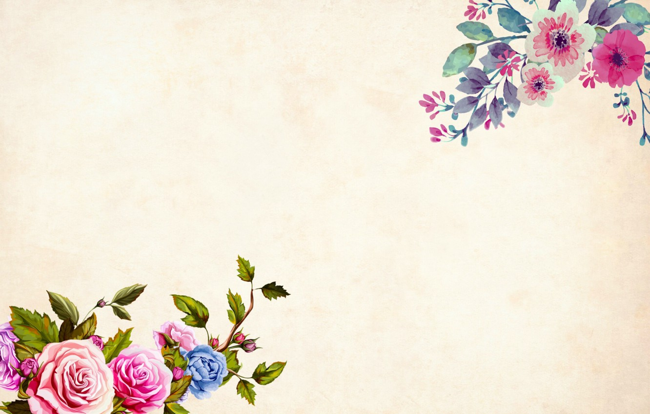 Photo wallpaper flowers, background, postcard, template, blank