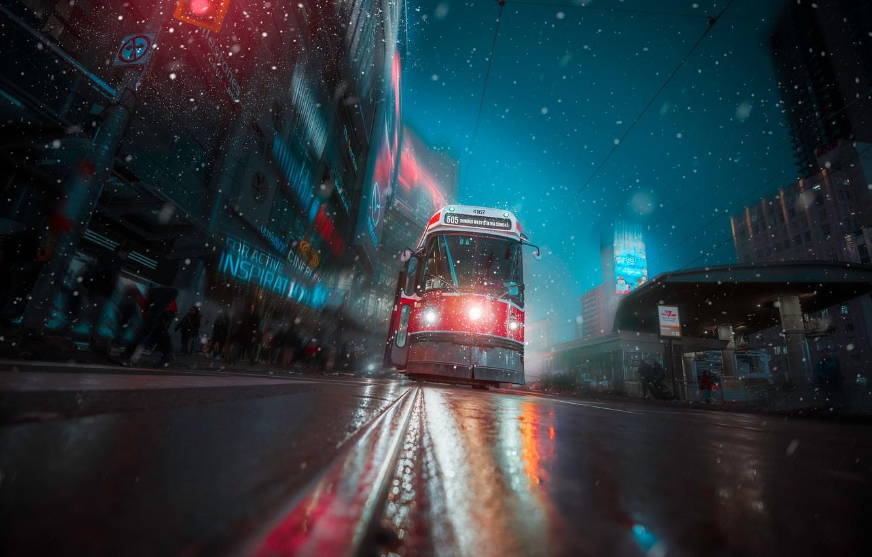 Photo wallpaper road, snow, street, Canada, tram, Toronto, Canada, Toronto