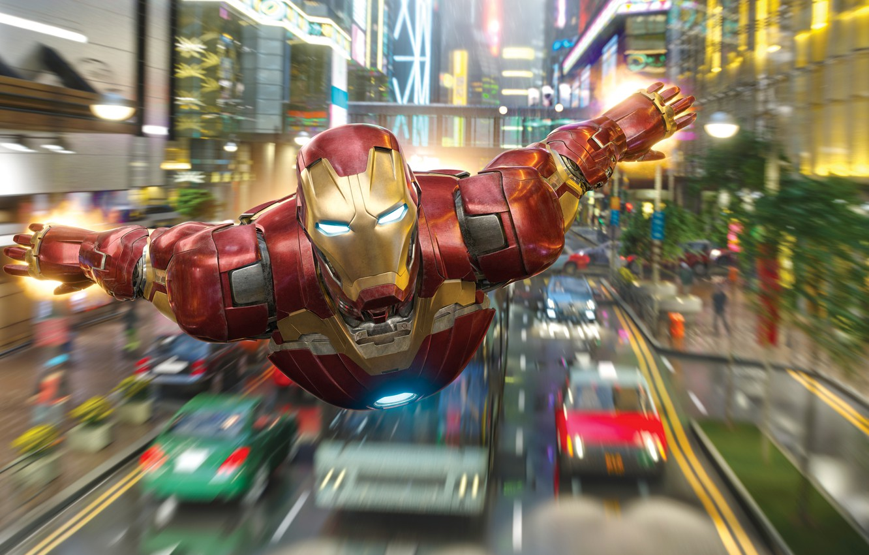 Photo wallpaper road, machine, the city, lights, speed, art, costume, flight, Iron man, Iron Man