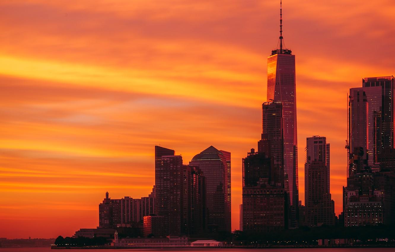 Photo wallpaper city, lights, USA, twilight, river, skyline, sky, sunset, New York, Manhattan, NYC, New York City, …