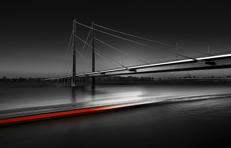 Photo wallpaper bridge, excerpt, black photo