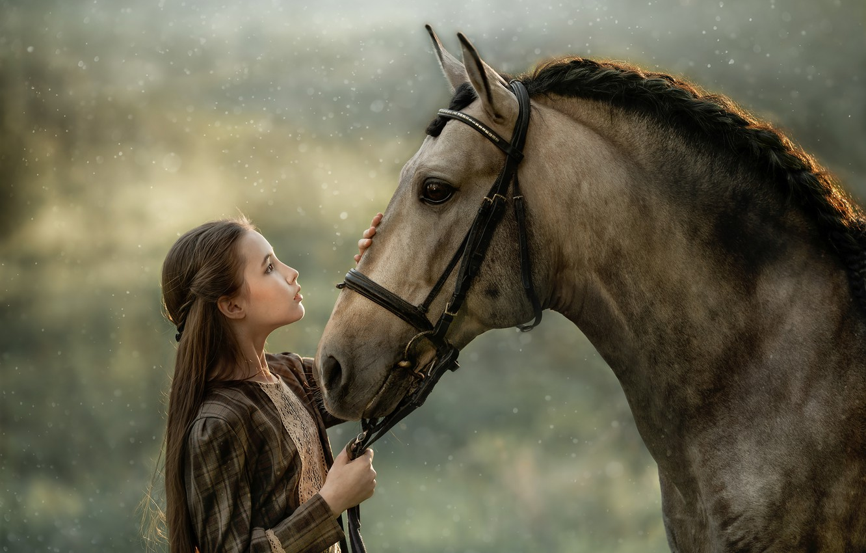 Photo wallpaper horse, horse, friendship, girl