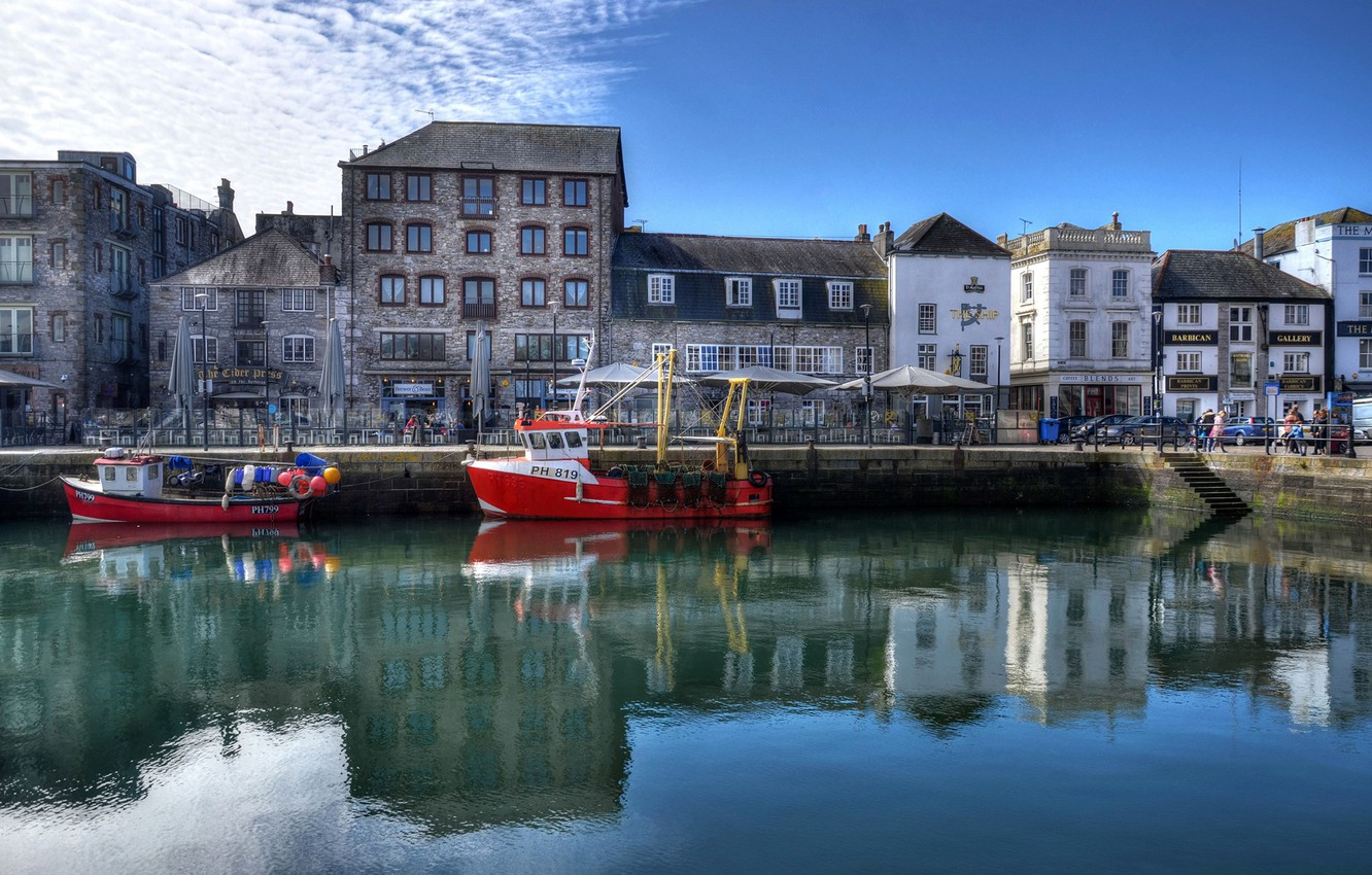 Photo wallpaper the sky, water, the sun, clouds, reflection, river, England, HDR, home, channel, boats, Plymouth, Barbican