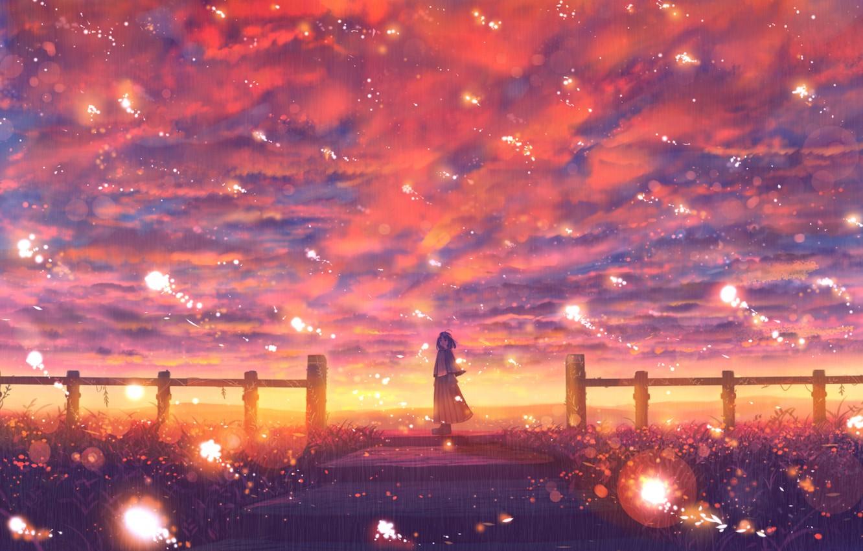Photo wallpaper the sky, sunset, girl