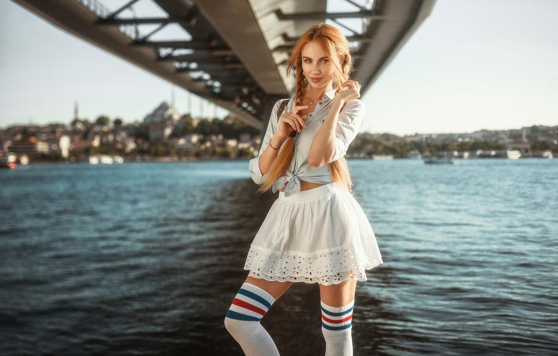 Photo wallpaper girl, Model, legs, bridge, photo, stockings, blue eyes, redhead, necklace, shirt, skirt, portrait, pigtails, looking …