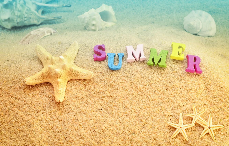Photo wallpaper sand, sea, beach, summer, stay, shell, summer, beach, vacation, sea, sand, vacation, starfish, seashels