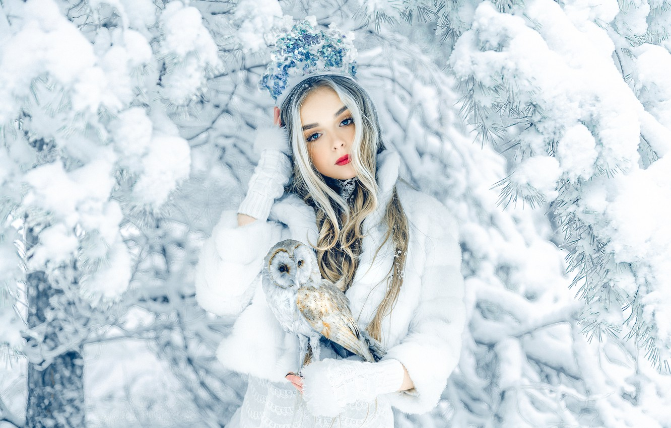 Photo wallpaper winter, girl, snow, branches, nature, tree, owl, bird, crown, blonde, coat, Axe, Ruslan Bolgov