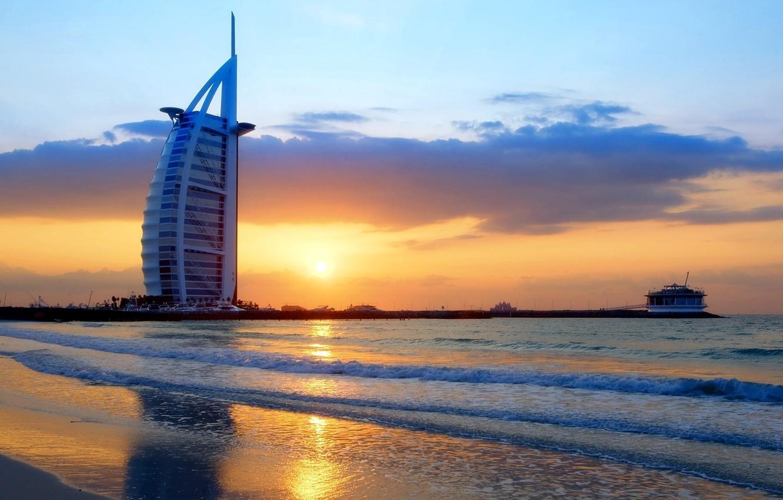 Wallpaper City Waves Dubai Twilight Sky Sea Landscape