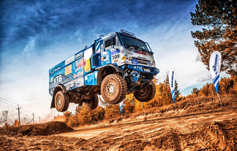 Photo wallpaper Sport, Machine, Speed, Flight, Truck, Race, Master, Russia, Kamaz, Rally, Dakar, KAMAZ-master, Dakar, Rally, KAMAZ, …