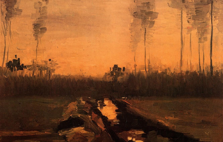 Photo wallpaper river, Vincent van Gogh, Landscape at Dusk