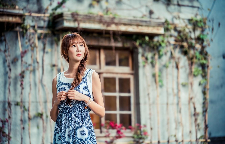 Photo wallpaper girl, dress, braid, Asian, bokeh