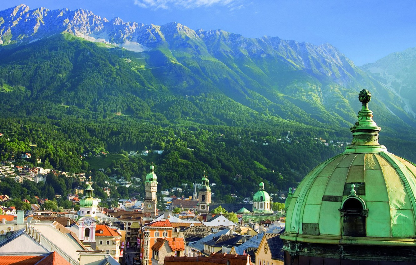 Photo wallpaper mountains, Austria, Alps, the dome, Innsbruck