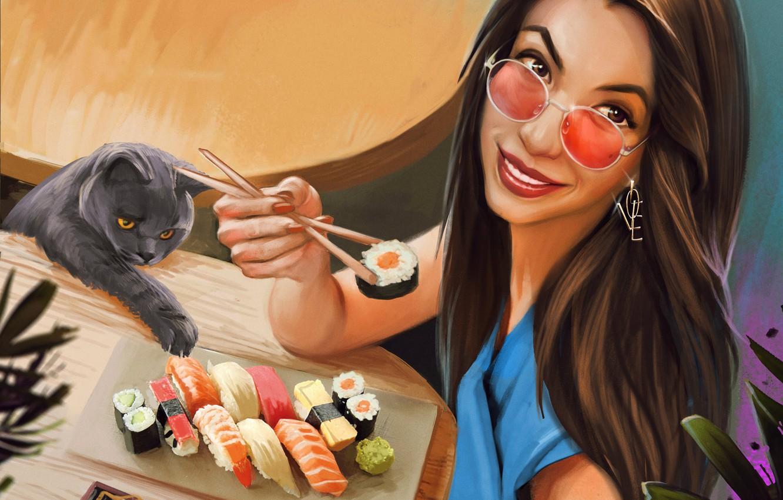 Photo wallpaper cat, look, girl, smile, glasses, sushi, Kaloyan Stoyanov