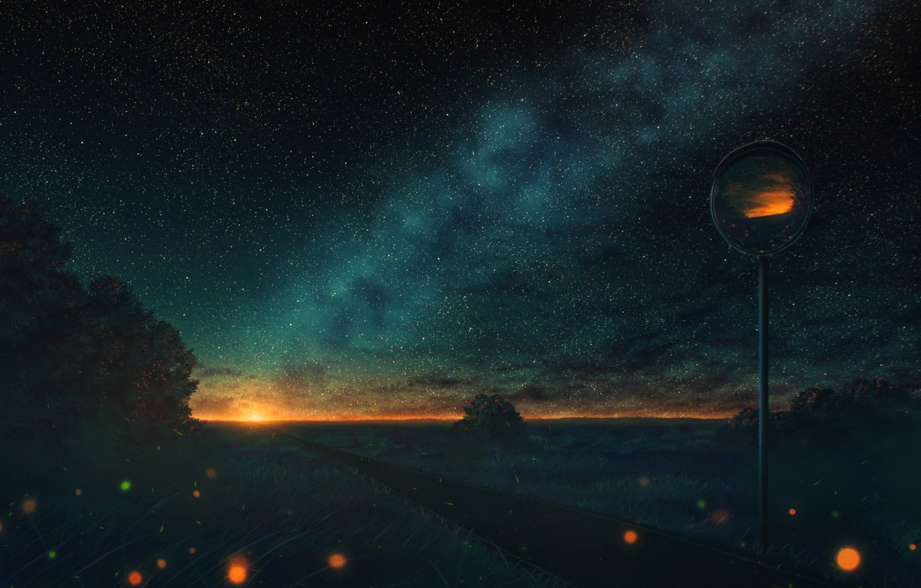 Photo wallpaper road, the sun, nature, the milky way, road mirror