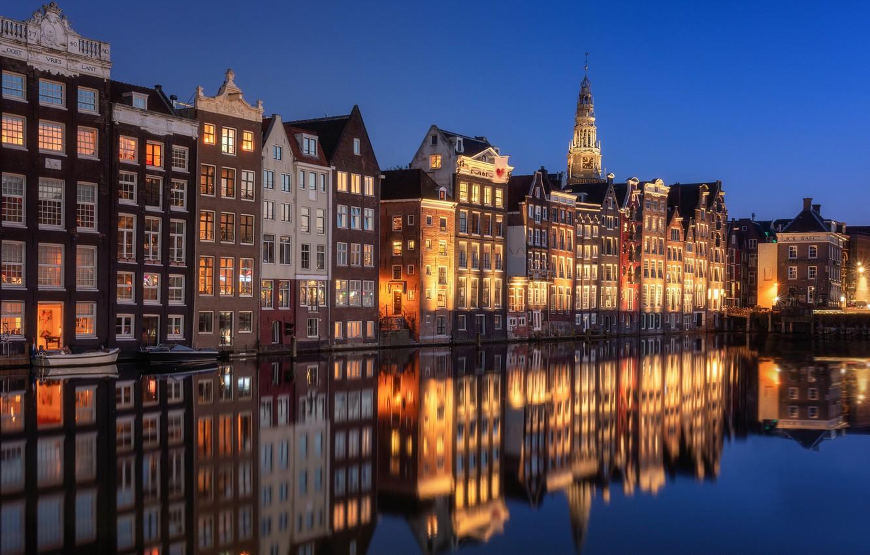 Photo wallpaper water, reflection, building, home, Amsterdam, channel, Netherlands, Amsterdam, Netherlands, De Wallen, De Wallen