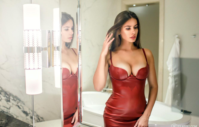 Photo wallpaper girl, cleavage, long hair, dress, brown hair, boobs, breast, photo, photographer, model, bokeh, lips, face, …