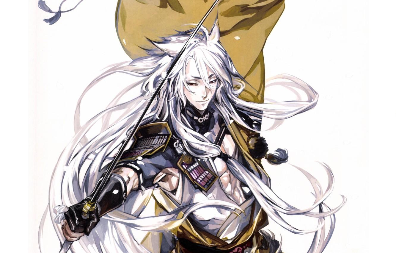 Photo wallpaper katana, armor, white background, cloak, Touken Ranbu, Kogitsunemaru, long white hair, Dance Of Swords, by …