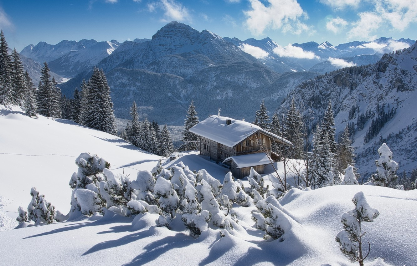 Photo wallpaper winter, snow, trees, landscape, mountains, nature, house, Austria, ate, Alps, cottage, forest, Tyrol