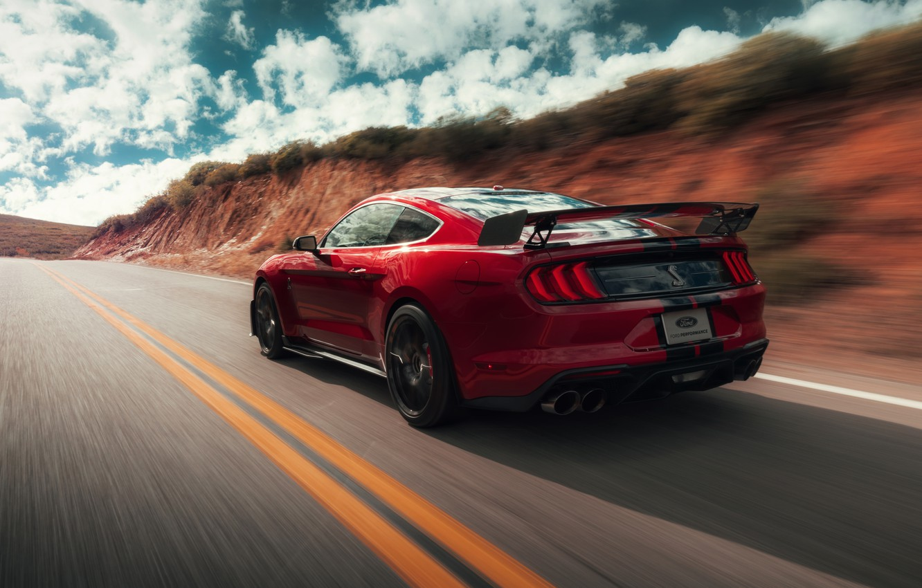 Photo wallpaper road, machine, the sky, asphalt, clouds, strips, red, style, markup, coupe, speed, spoiler, Ford Mustang …