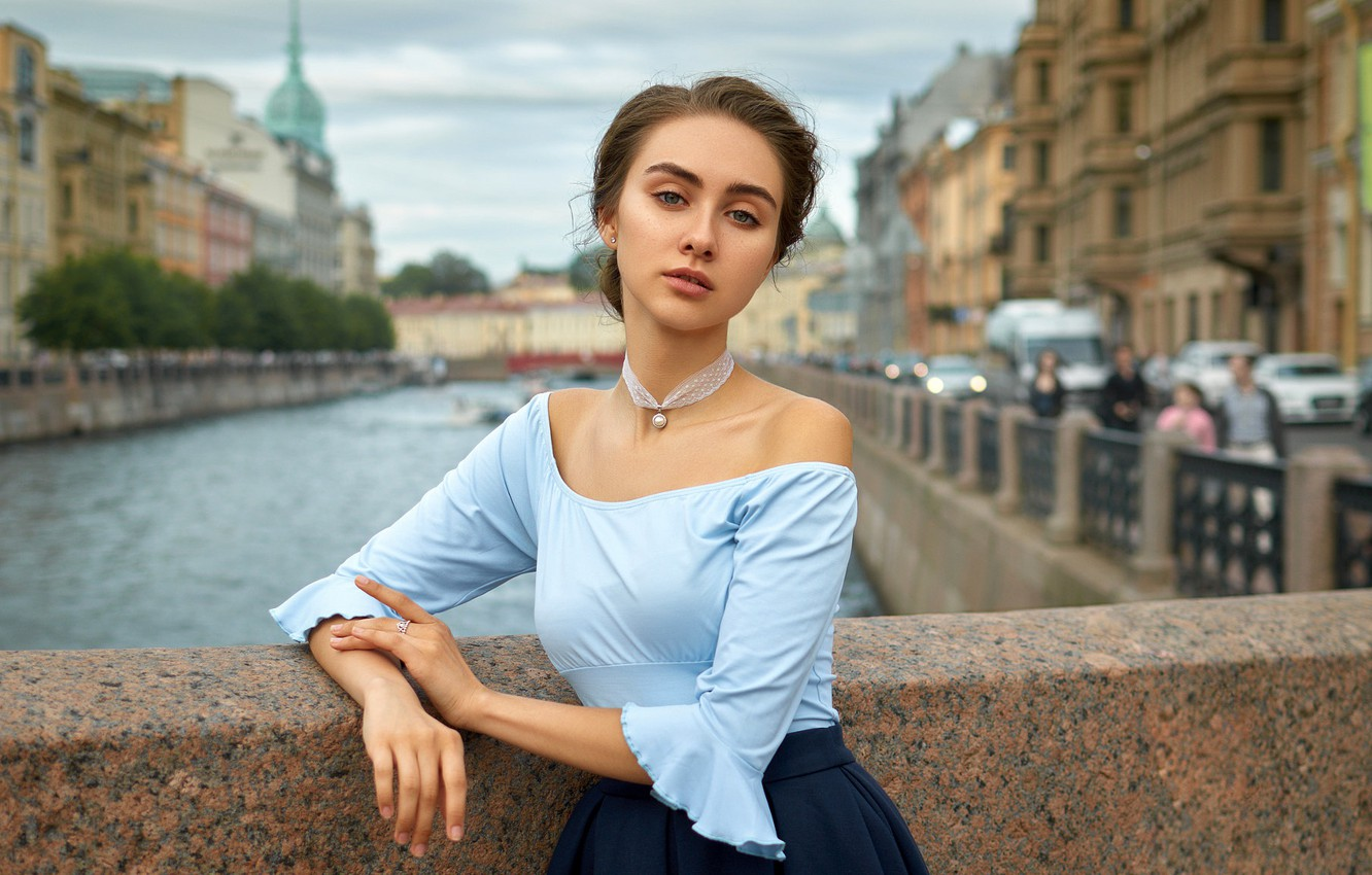 Photo wallpaper look, bridge, the city, pose, river, model, skirt, portrait, home, makeup, hairstyle, channel, blouse, brown …