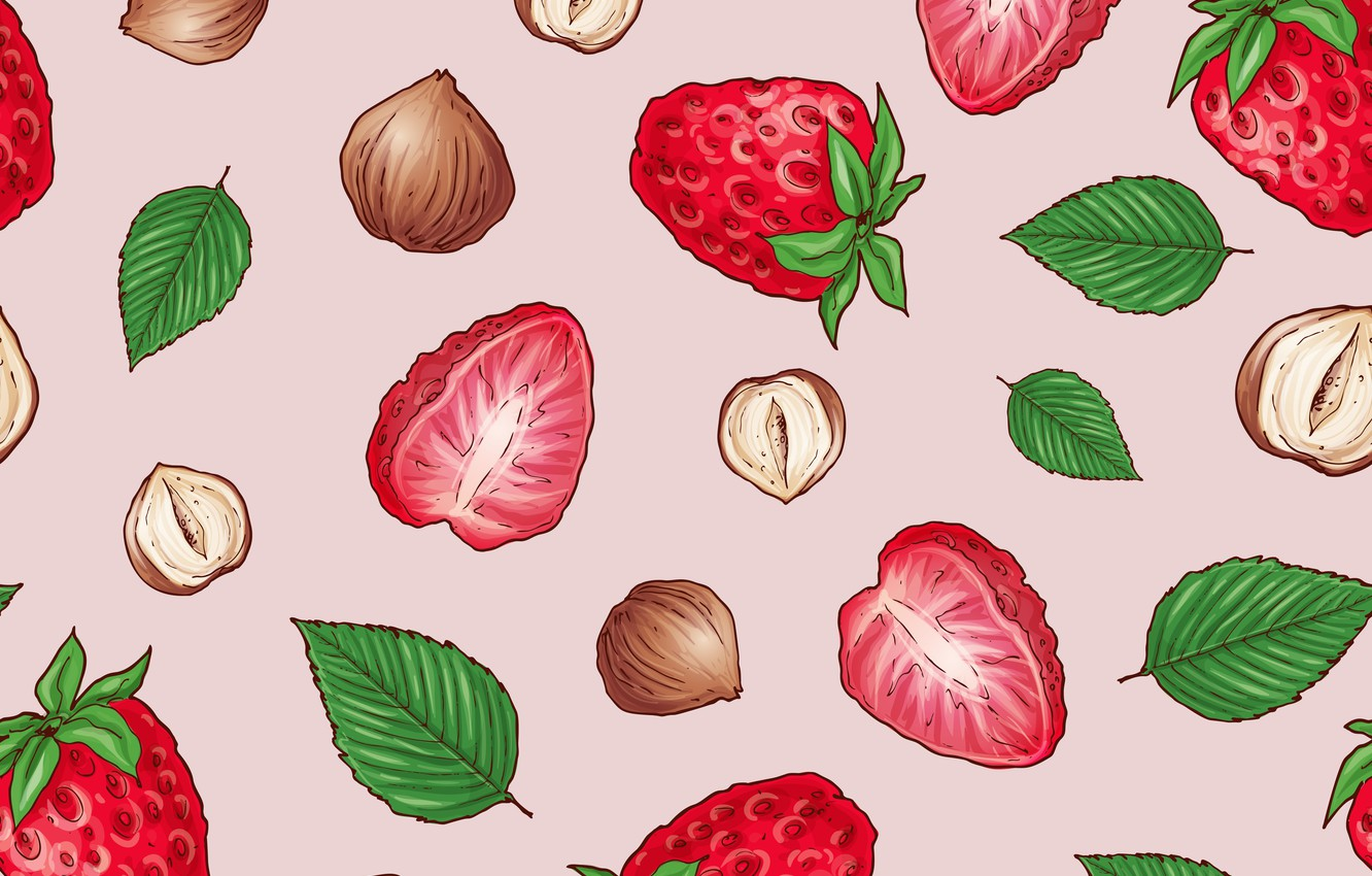 Photo wallpaper berries, background, strawberry, nuts