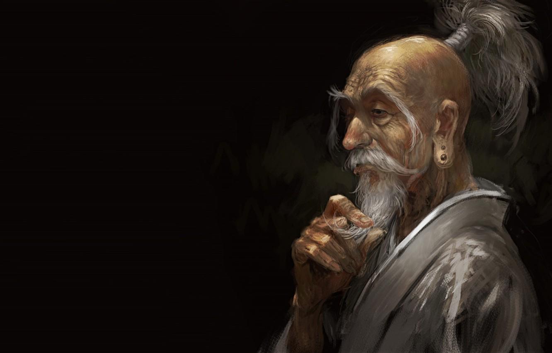Photo wallpaper anime, man, asian, digital art, artwork, black background, old man, simple background, beard, Hunter x …