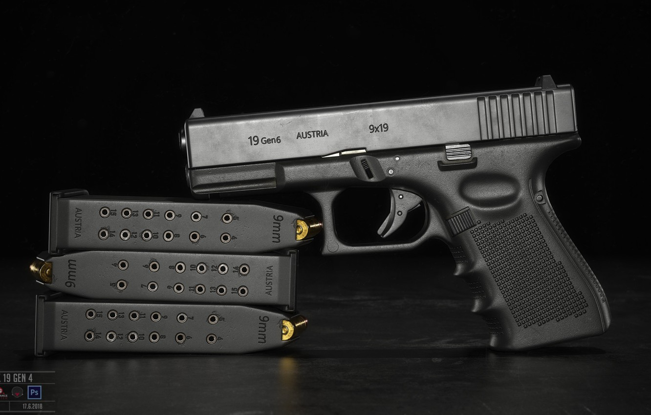 Photo wallpaper gun, weapons, pistol, weapon, Glock, Glock, Glock 19 gen 6