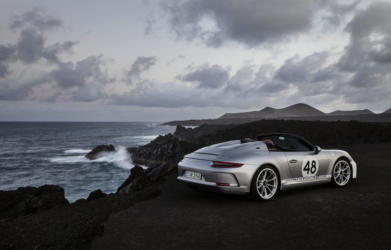 Photo wallpaper sea, rocks, 911, Porsche, Speedster, 991, 2019, gray-silver, 991.2