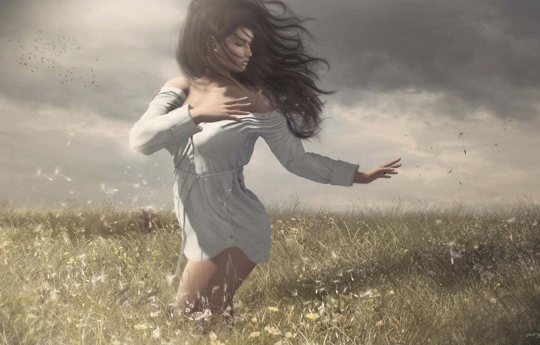 Photo wallpaper field, girl, the wind, hair