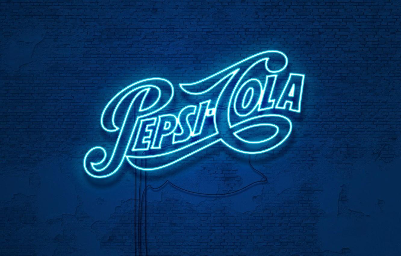 Photo wallpaper wall, neon, wall, drink, cola, pepsi, Cola, drink, soda, Pepsi, neon glow, pepsi-cola, Pepsi-Cola
