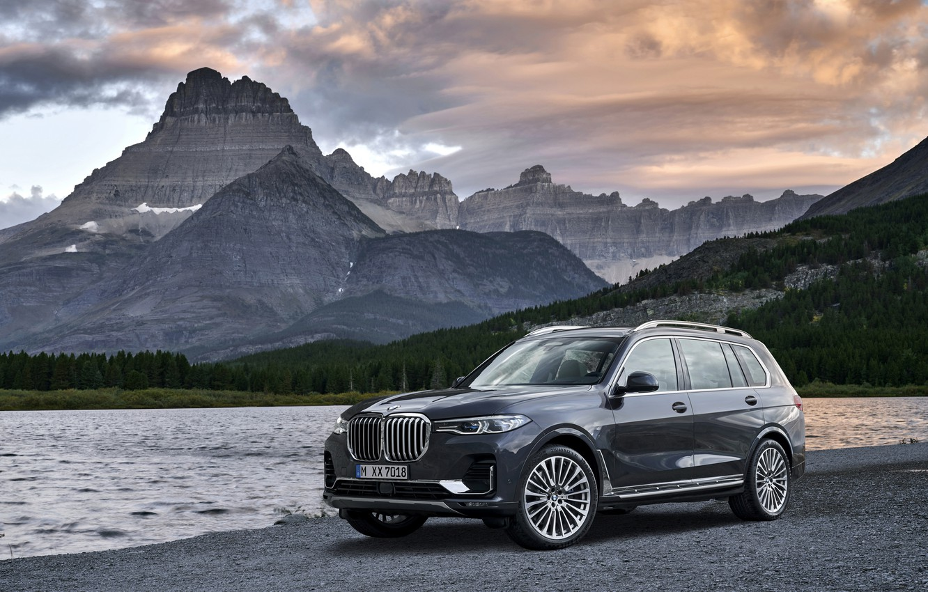 Photo wallpaper mountains, BMW, pond, 2018, on the shore, crossover, SUV, 2019, BMW X7, X7, G07