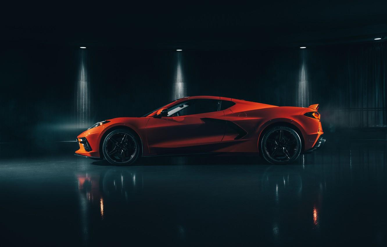 Photo wallpaper Corvette, Chevrolet, side view, Stingray, 2020, C8