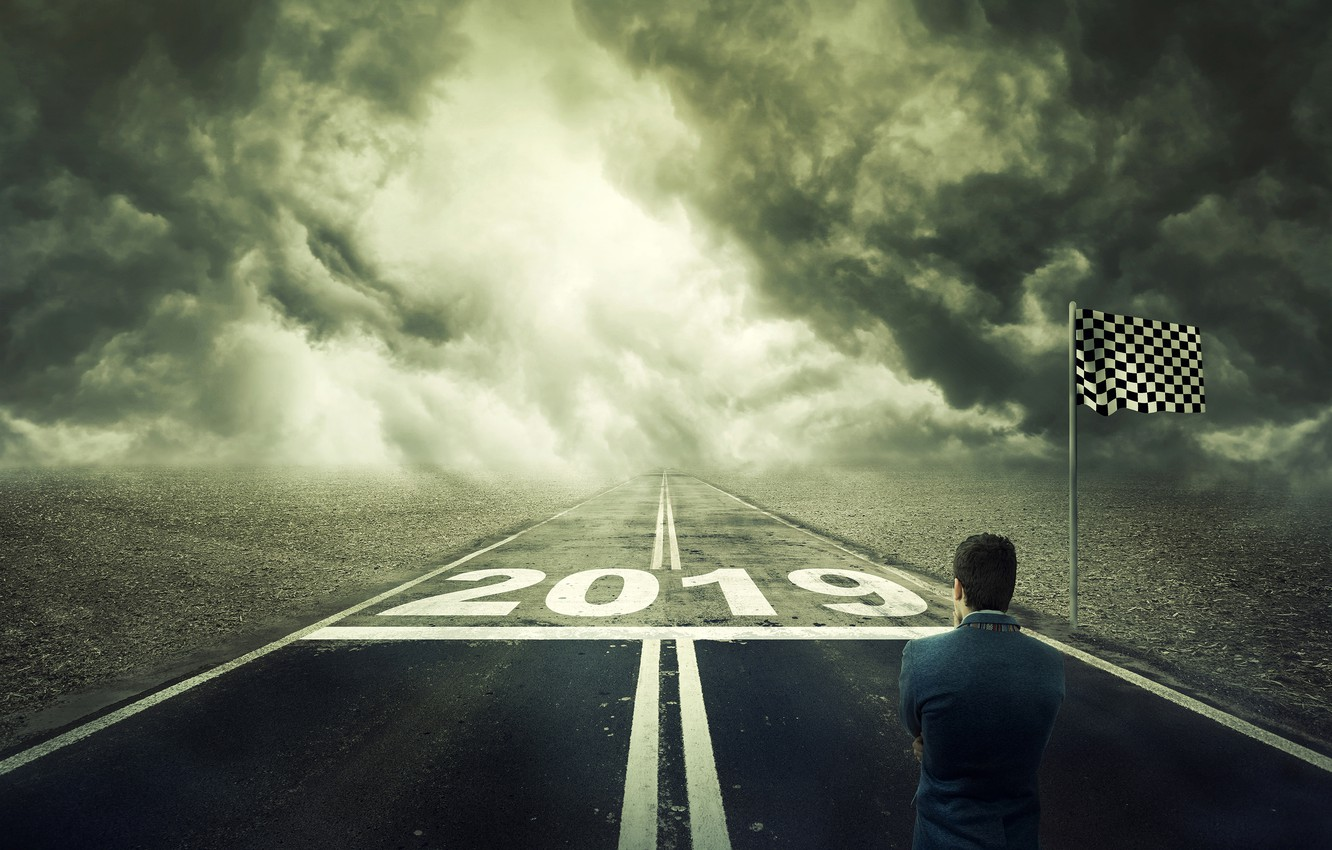 Photo wallpaper road, field, clouds, creative, the situation, highway, New year, male, is, thought, the box, 2019