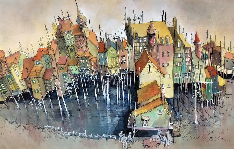 Photo wallpaper the city, figure, home