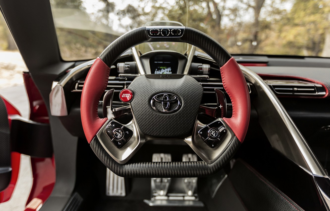 Photo wallpaper red, coupe, the wheel, Toyota, salon, 2014, FT-1 Concept