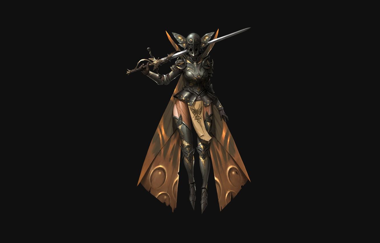 Photo wallpaper Girl, Fantasy, Art, Style, Illustration, Minimalism, Sword, Armor, Figure, Character, ilsu jang, Moth knight