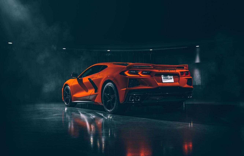 Wallpaper Corvette Chevrolet Rear View Stingray 2020