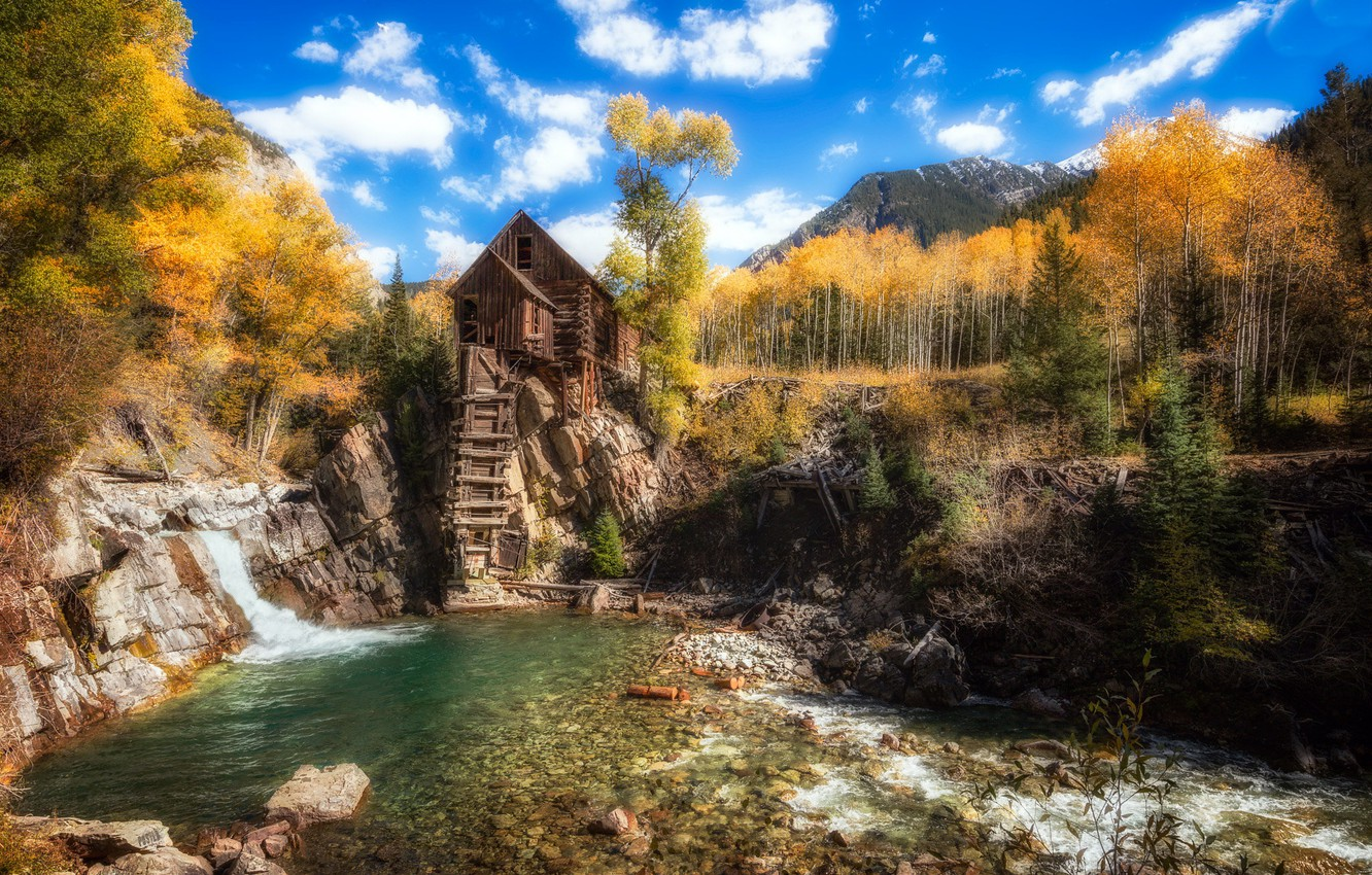 Photo wallpaper Colorado, Crystal Mill, stylized image